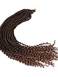 22inch soft dreadlocs crochet braids with curly end kanekalon fauxlocs hair extension synthetic braiding hair ombre brown 1pc