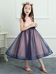 A-Line Tea Length Flower Girl Dress - Satin Net Sleeveless Jewel Neck with Bowknot by LAN TING BRIDE®