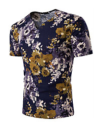 Men's Casual/Daily Simple Summer T-shirt,Floral V Neck Short Sleeves Linen