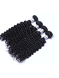 Medium Size 4 Bundles 400g Brazilian Virgin Remy Human Hair Wefts 100% Unprocessed Deep Wave Human Hair Weaves Natural Black Human Hair Extensions