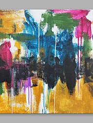 Недорогие -Ручная роспись Абстракция Квадратный, Высокое качество холст Hang-роспись маслом Украшение дома 1 панель