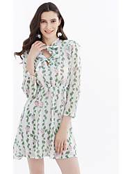 Women's Holiday Going out Casual/Daily Simple Cute A Line Chiffon Dress,Floral Botanical Stand Above Knee 3/4 Length Sleeve ChiffonSpring