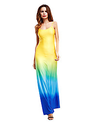 Women's Going out Club Sexy Street chic Sheath Dress,Color Block Off Shoulder Maxi Sleeveless Cotton Spring Summer Low Rise Micro-elastic
