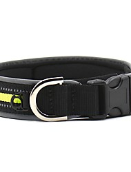 Dog Collar Reflective Portable Safety Solid Nylon Black