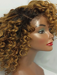 T1B/4/27 Blonde Dark Roots Kinky Curly Hair Wigs Glueless Lace Front Brazilian Human Virgin Hair Wigs With Baby Hair For Black Women On Sale