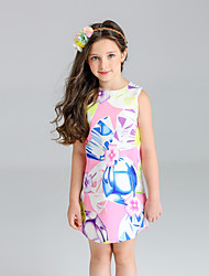 cheap -Girl's Floral Dress, Cotton Polyester Spring Summer Sleeveless Floral Blushing Pink