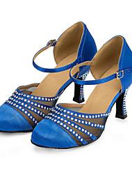 Damen Modern Lycra Absätze Innen Strass Stöckelabsatz Blau Khaki 7,5 - 9,5 cm