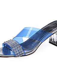 Women's Slippers & Flip-Flops Comfort Light Soles Summer PU Casual Dress Sequin Block Heel White Blue Blushing Pink 1in-1 3/4in