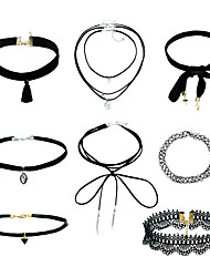 Women's Jewelry Set Choker Necklaces Pendant Necklaces Basic Dangling Style Fashion Euramerican Plastics Plush Fabric Mixed Material Alloy