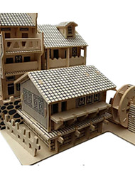 cheap -3D Puzzles Jigsaw Puzzle Wood Model Toys Famous buildings Chinese Architecture Architecture 3D DIY Simulation Wooden Wood Not Specified