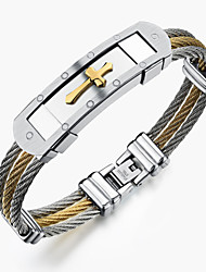 cheap -Men's Bracelet Bangles - Stainless Steel Rock, Gothic, Fashion Bracelet Gold / White For Party Birthday Party / Evening
