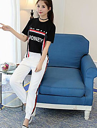 Women's Daily Modern/Contemporary Summer T-shirt Pant Suits,Print Letter Round Neck Short Sleeve Polyster