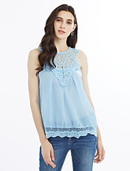 cheap -Women's Going out Cute Blouse - Solid Colored Lace Cut Out Crew Neck