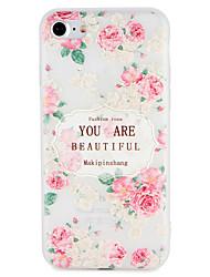 economico -Caso per la mela apple iphone 7 plus copertina goffrata modello copertura posteriore parola / frase fiore soft tpu 6s più 6 più 6 6s 5 5s