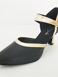 """preiswerte -Damen Modern Echtes Leder Sandalen Aufführung Verschlussschnalle Kubanischer Absatz Schwarz und Gold 2 """"- 2 3/4"""" Maßfertigung"""