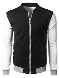 Men's Sports Going out Casual/Daily Simple Winter Jacket,Color Block Round Neck Long Sleeve Regular Cotton Polyester