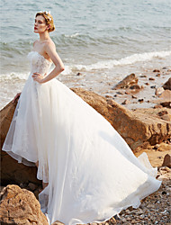 A-Line Strapless Asymmetrical Organza Wedding Dress with Beading Appliques Buttons Sashes/ Ribbons by LAN TING BRIDE®