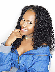 Kinky Curly 120% Density Lace Front Human Hair Wig Brazilian Non-remy Hair Natural Black