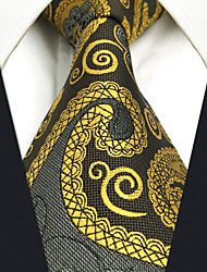 cheap -CS1  Mens Necktie Dress Classic Wedding Gold Gray Paisley 100% Silk Business Handmade For Men
