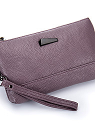 Women Bags All Seasons Cowhide Wristlet with for Event/Party Casual Outdoor Office & Career Black Gray Blushing Pink Light Purple Deep