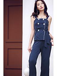 Dámské Proužky Denní Ležérní Jdeme ven Na běžné nošení Aktivní Elegantní & moderní Tílko Kalhoty Obleky-Léto Ramínka Bez rukávůNení