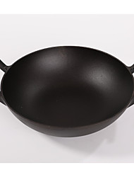 1Piece/ two ears cast iron pan 30cm pig iron pan thickened without chemical coating physical non stick pot