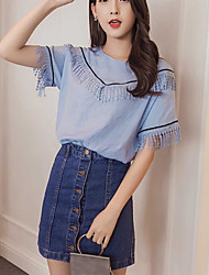 Women's Daily Casual Casual Summer T-shirt Skirt Suits,Color Block Jeans Round Neck Short Sleeve Cotton Micro-elastic