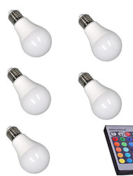 5W E27 LED Smart Bulbs A60(A19) 15 LEDs SMD 5050 Sensor Infrared Sensor Decorative Dimmable Remote-Controlled RGB 400lm 3000-6500K AC