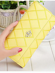 Women Checkbook Wallet Cowhide All Seasons Casual Rectangle Snap Black Yellow Fuchsia
