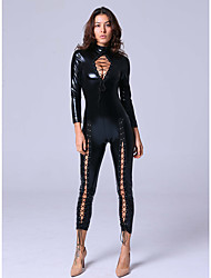 Women's High Collar Bondage Leather Faux Wetlook Catsuit Bodysuit Cosplay Costume Jumpsuit