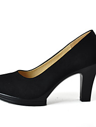 Women's Heels Formal Shoes Spring Fall Fabric Dress Office & Career Chunky Heel Black 3in-3 3/4in