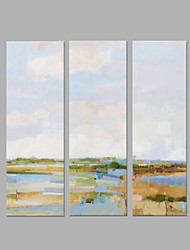 cheap -IARTS® Hand Painted Abstract Oil Painting The Beautiful Riverside View Set of 3 with Stretched Frame Picture For Home Decoration Ready To Hang