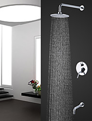 cheap -Contemporary Modern Style Wall Mounted Rain Shower Ceramic Valve Chrome, Shower Faucet