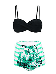 Women's Fashion Sexy Hollow-out Swimwear Printed Biquini High Waist Swimsuit Size M-2XL