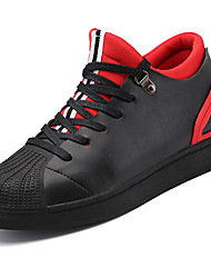cheap -Men's Sneakers Light Soles Leatherette Spring Summer Fall Winter Athletic Casual Outdoor Lace-up Low Heel Black Black/Red Under 1in