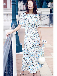 AGD Women's Going out Casual/Daily Simple Cute Loose Swing DressPrint Scoop Maxi Midi Short Sleeve Polyester Taffeta Spring Summer Mid Rise