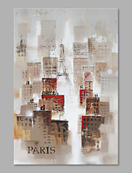IARTS® Hand Painted Modern Abstract Paris City Oil Painting On Canvas with Stretched Frame Wall Art For Home Decoration Ready To Hang