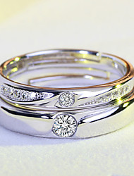 2PCS/ Set Adjustable Size Couple's Ring  Classic Elegant Silver Cubic Zirconia Ring Jewelry For Wedding Anniversary Party/Evening