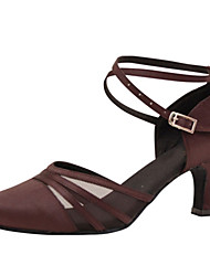 "Women's Modern Silk Sandal Performance Criss-Cross Cuban Heel Coffee 2"" - 2 3/4"" Customizable"