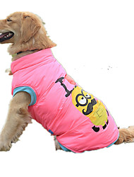 cheap -Dog Puffer / Down Jacket Vest Dog Clothes Casual/Daily Cartoon Yellow Pink Costume For Pets