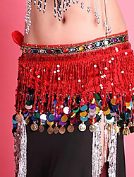 Dança do Ventre Lenços de Quadril para Dança do Ventre Mulheres Apresentação Chiffon Lantejoulas 1 Peça Xale de Dança do Ventre