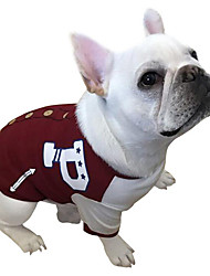 cheap -Dog Sweatshirt Baseball Dog Clothes Breathable Casual/Daily Letter & Number Red Green Costume For Pets
