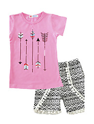 cheap -Girls' Clothing Set, Cotton Summer Short Sleeves Blushing Pink