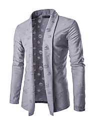 cheap -Men's Daily Solid Shirt Collar Cardigan, Long Sleeves Winter Polyester