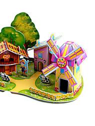 Недорогие -3D пазлы Пазлы Мельницы Летательный аппарат Ветряная мельница Знаменитое здание Лошадь Своими руками Плотная бумага Классика Аниме