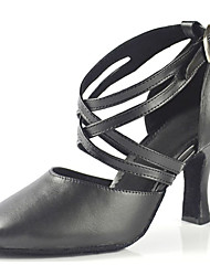 "cheap -Women's Latin Faux Leather Sandal Performance Criss-Cross Stiletto Heel Black 3"" - 3 3/4"" Customizable"