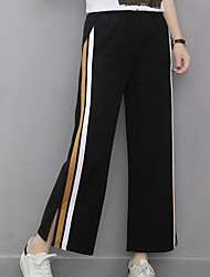 cheap -Women's Mid Rise Inelastic Wide Leg Relaxed Pants,Casual Solid Summer