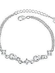 Femme Fille Chaînes & Bracelets Cristal Amitié Mode Vintage Plaqué argent Forme de Fleur Bijoux Pour Mariage Soirée Occasion spéciale