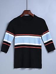 Standard Pullover Da donna-Per uscire Casual Semplice A strisce Monocolore Rotonda Mezza manica Cotone Acrilico Primavera AutunnoSottile