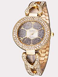 abordables -ASJ Femme Quartz Montre Bracelet Japonais Etanche Acier Inoxydable Bande Feuilles Rétro Mode Argent Doré Or Rose